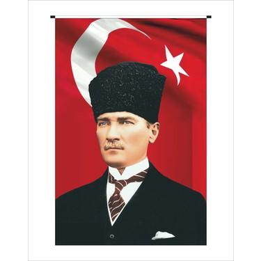 Dijital baskılı kumaş üzerine Atatürk Posteri